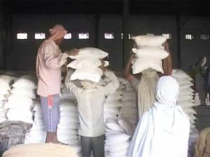 गोदाम से चावल के कट्टों को उठाते मजदूर