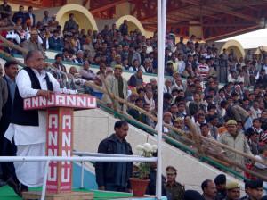 उपस्थित जनता को संबोधित करते सपा सुप्रीमो मुलायम सिंह यादव
