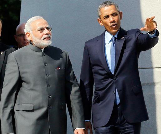 भारत के प्रधानमंत्री नरेंद्र मोदी और अमेरिका के राष्ट्रपति बराक ओबामा।